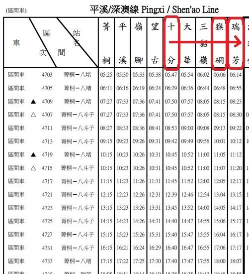 平渓線帰りの時刻表