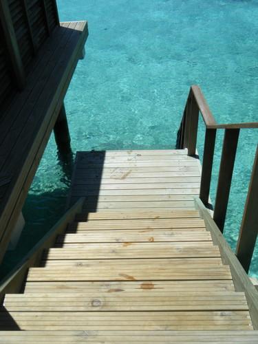 水上コテージの海へ降りる階段