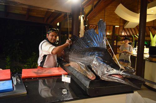 モルディブの海でとれた巨大魚